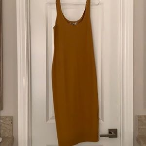 Mustard women's knee length dress